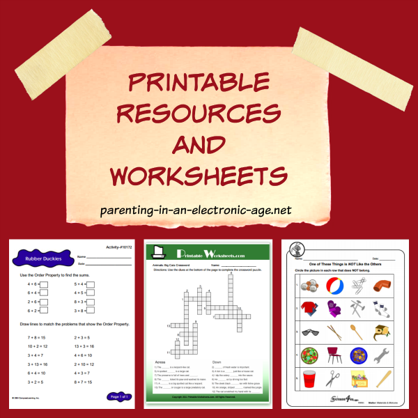 A list of free printable resources and worksheets perfect for homeschool or as a school supplement.
